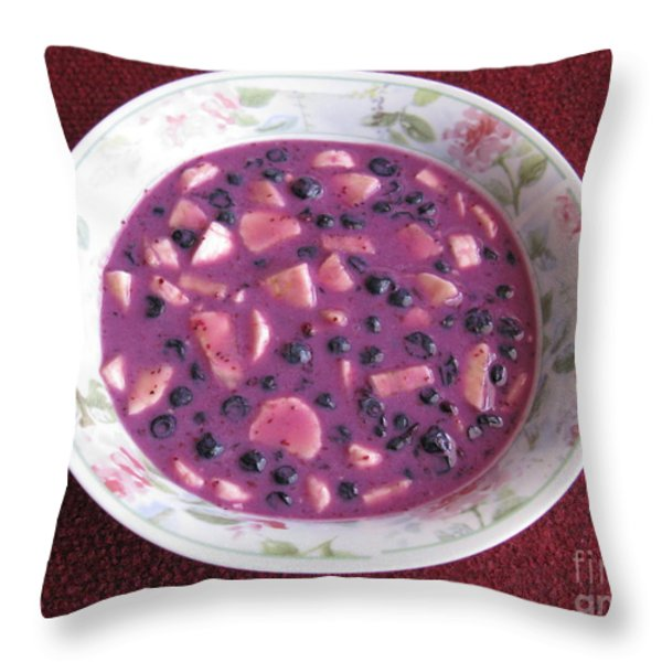 Blueberry And Banana Soup Throw Pillow by Ausra Huntington nee Paulauskaite
