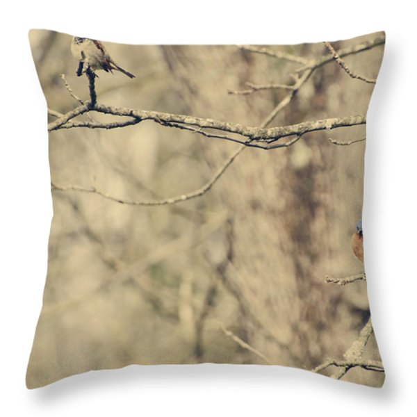 Bluebird and Sparrow Throw Pillow by Heather Applegate