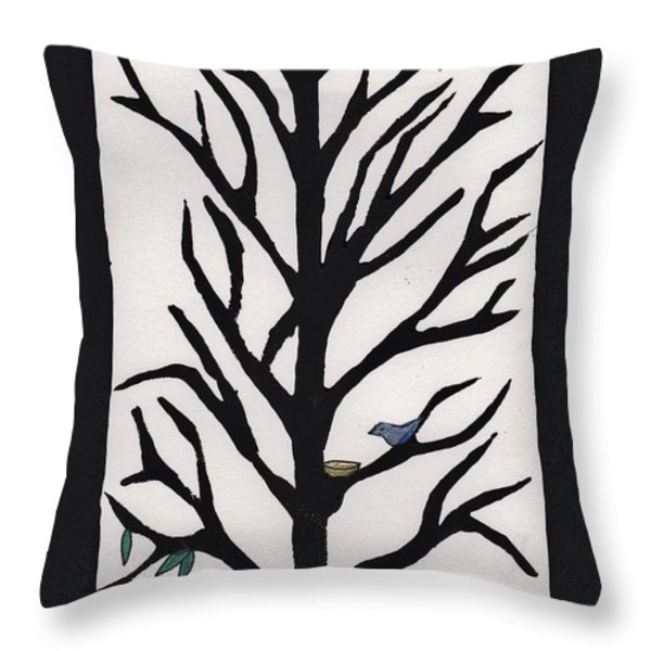 Bluebird in a Pear Tree Throw Pillow by Barbara St Jean