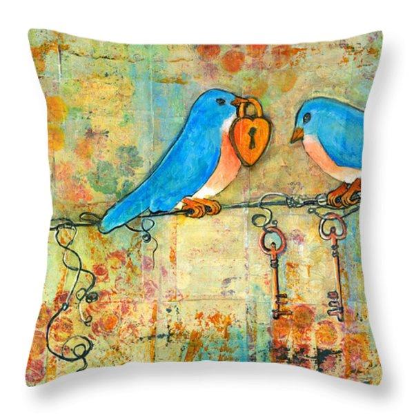 Bluebird Painting - Art Key to My Heart Throw Pillow by Blenda Studio