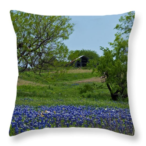 Bluebonnets And Old Barn Throw Pillow by Lisa Holmgreen