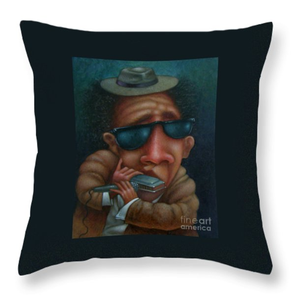 Blues In Hand 2001 Throw Pillow by Larry Preston