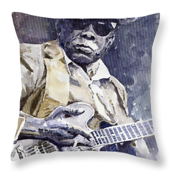 Bluesman John Lee Hooker 3 Throw Pillow by Yuriy  Shevchuk