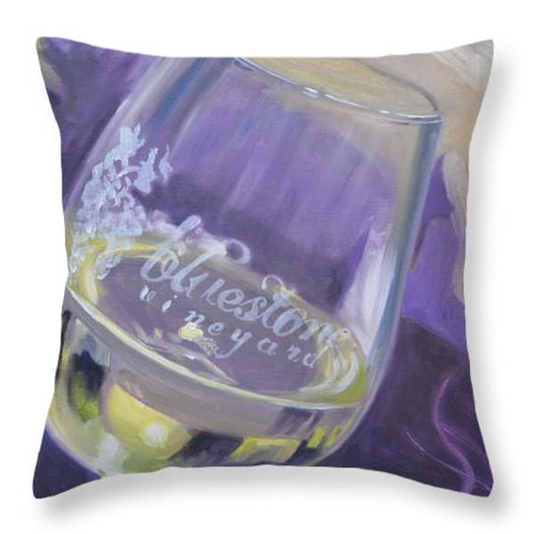 Bluestone Vineyard Wineglass Throw Pillow by Donna Tuten