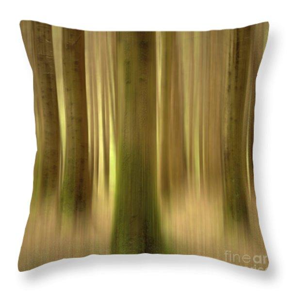 Blurred Trunks In A Forest Throw Pillow by Bernard Jaubert