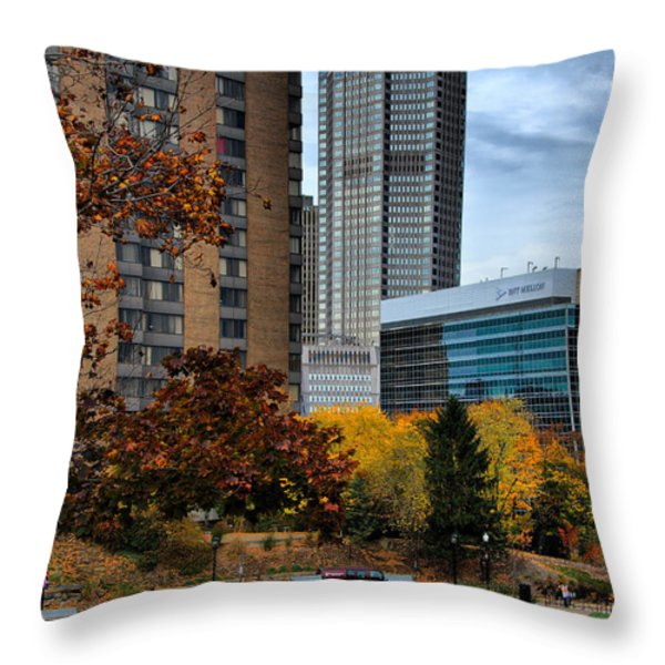 BNY Mellon from Duquesne University Campus HDR Throw Pillow by Amy Cicconi