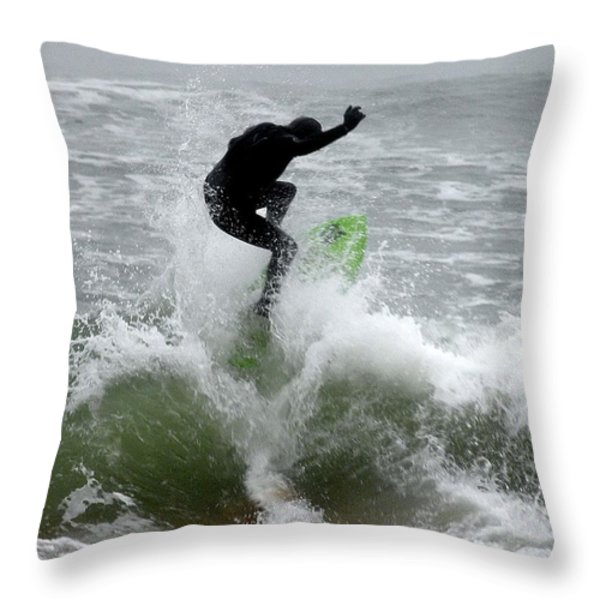 Boardskimming - Into The Surf Throw Pillow by Kim Bemis
