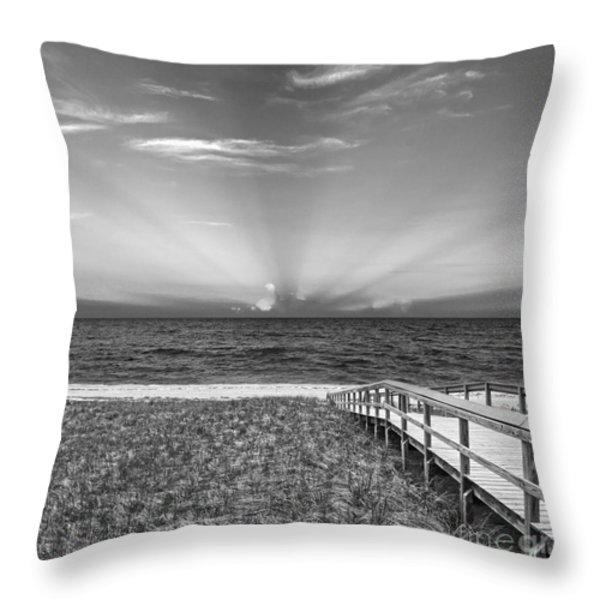 Boardwalk to the Sea Throw Pillow by Michelle Wiarda
