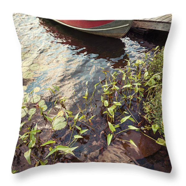 Boat at dock  Throw Pillow by Elena Elisseeva