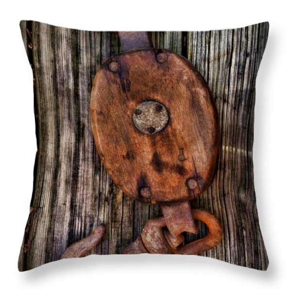 Boat - Block And Tackle Throw Pillow by Paul Ward