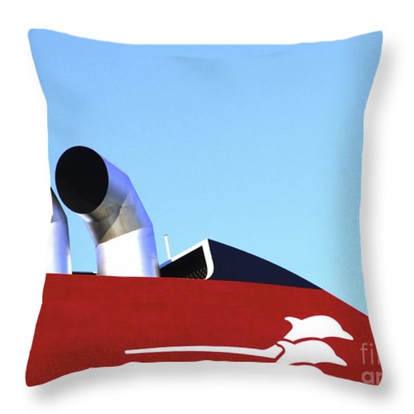 Boat Chimneys Throw Pillow by Eleni Mac Synodinos