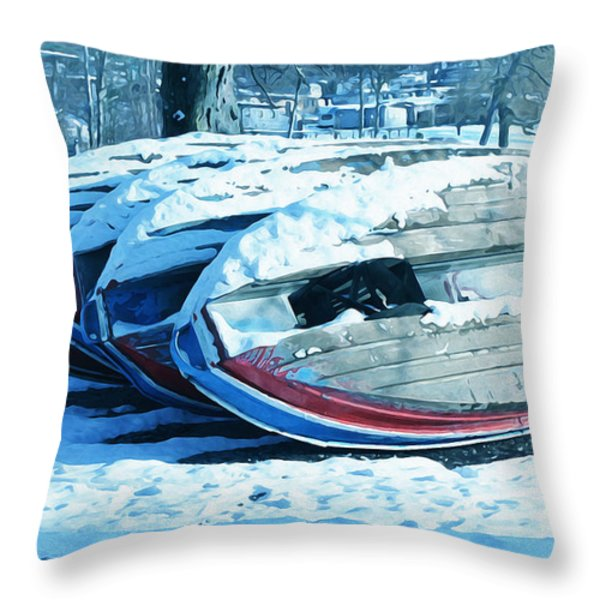 Boat Hire On Holiday Throw Pillow by Jutta Maria Pusl