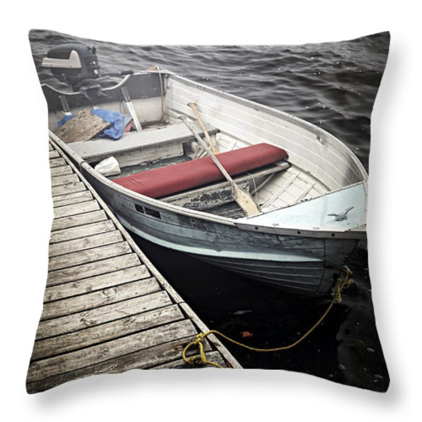 Boat in fog Throw Pillow by Elena Elisseeva