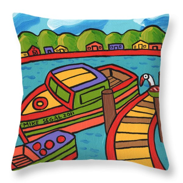 Boat In The Bayou - Cedar Key Throw Pillow by Mike Segal