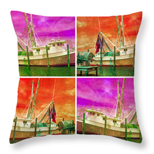 Boat Of A Different Color Throw Pillow by Betsy A  Cutler