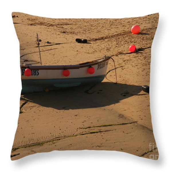 Boat On Beach 04 Throw Pillow by Pixel Chimp