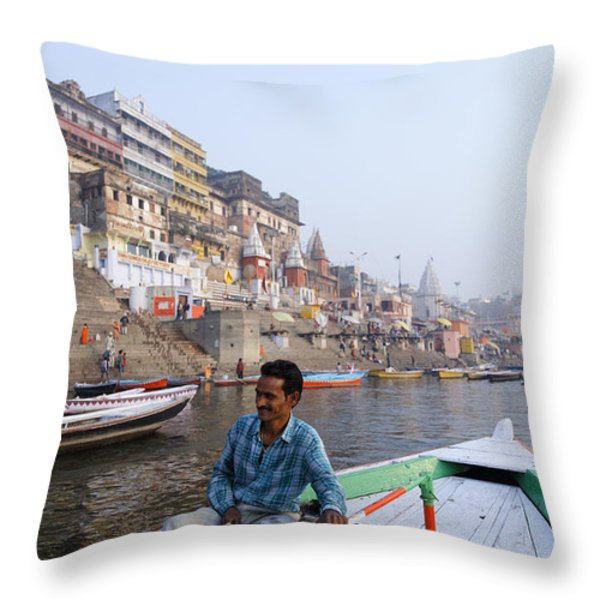 Boat On The River Ganges At Varanasi In India Throw Pillow by Robert Preston