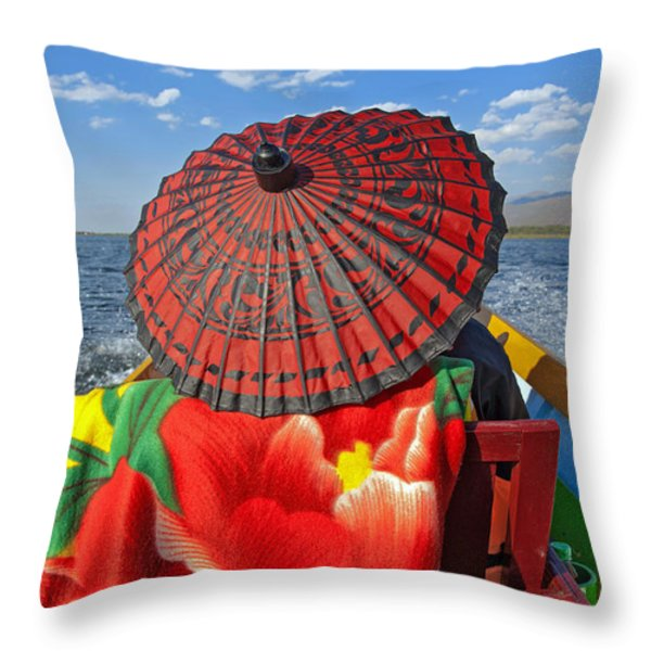 Boat Passanger With Pathein Umbrella Throw Pillow by Judith Barath