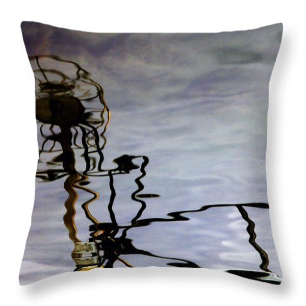 Boat Reflections Throw Pillow by Stylianos Kleanthous