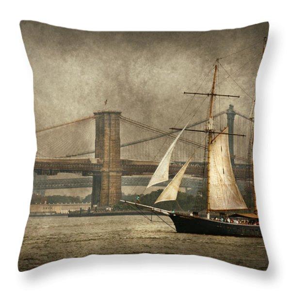 Boat - Sailing - Govenors Island NY - Clipper City Throw Pillow by Mike Savad
