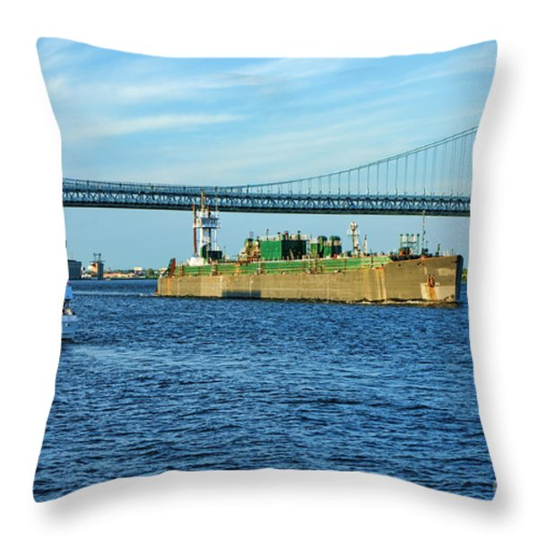 Boat Traffic Throw Pillow by Olivier Le Queinec