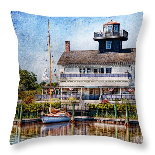 Boat - Tuckerton Seaport - Tuckerton Lighthouse Throw Pillow by Mike Savad
