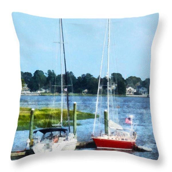 Boat - Two Docked Sailboats Norwalk Ct Throw Pillow by Susan Savad