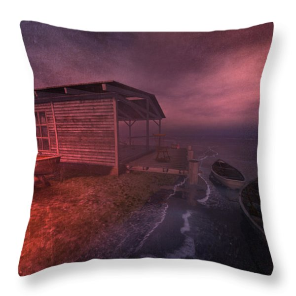 Boathouse Throw Pillow by Kylie Sabra