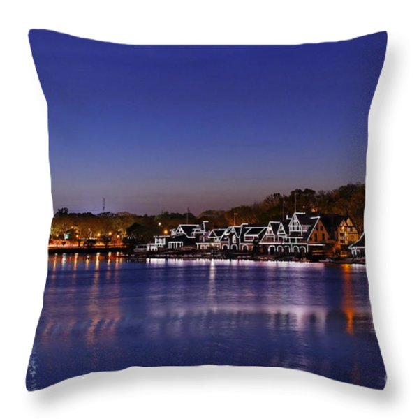 Boathouse Row Philly Throw Pillow by John Greim