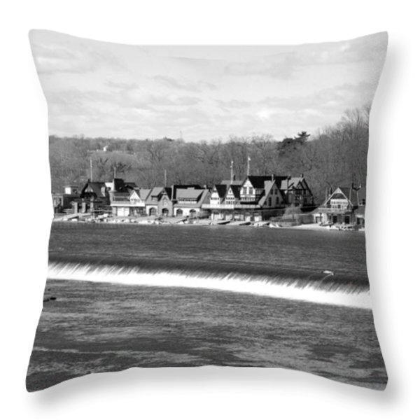 Boathouse Row winter b/w Throw Pillow by Jennifer Lyon