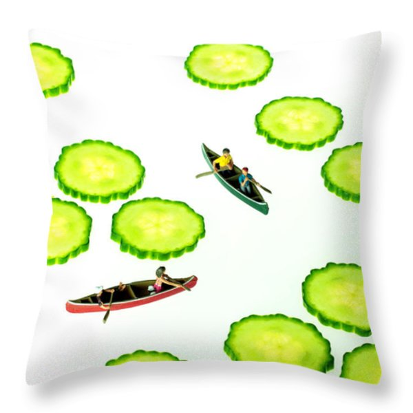 Boating Among Cucumber Slices Miniature Art Throw Pillow by Paul Ge
