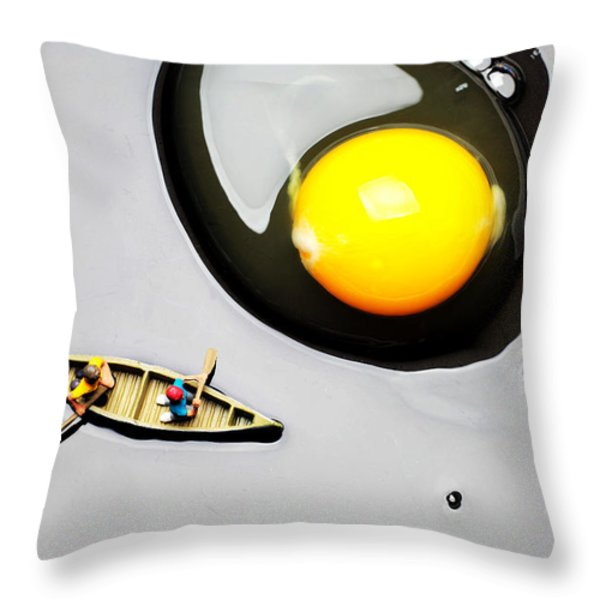 Boating around egg little people on food Throw Pillow by Paul Ge