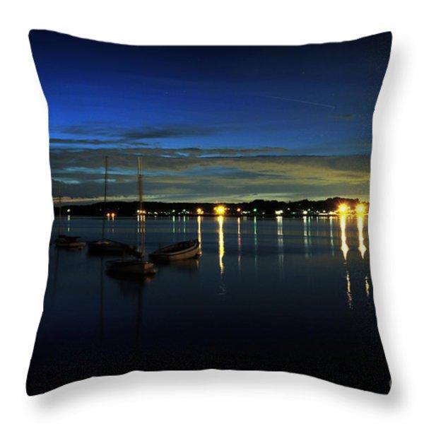 Boating - The Marina at Night Throw Pillow by Paul Ward