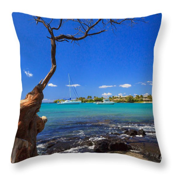 Boats At Anaehoomalu Bay Throw Pillow by James Eddy