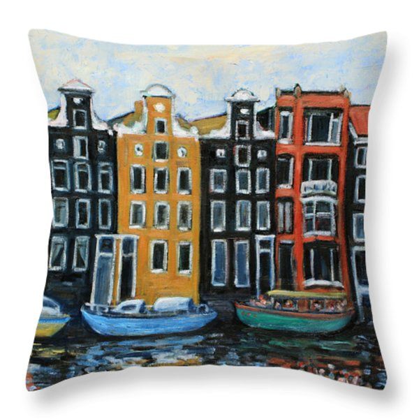 Boats In Front of the Buildings VI Throw Pillow by Xueling Zou