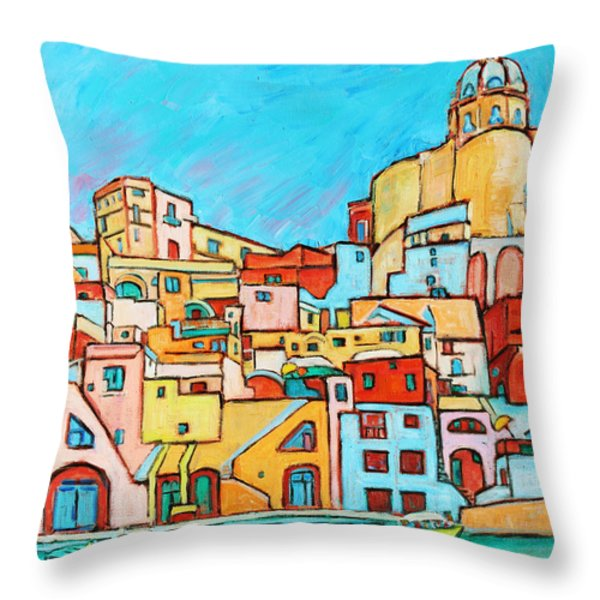Boats In Front of the Buildings VII Throw Pillow by Xueling Zou