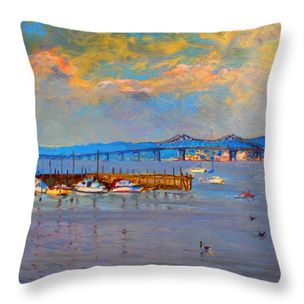 Boats in Piermont harbor NY Throw Pillow by Ylli Haruni