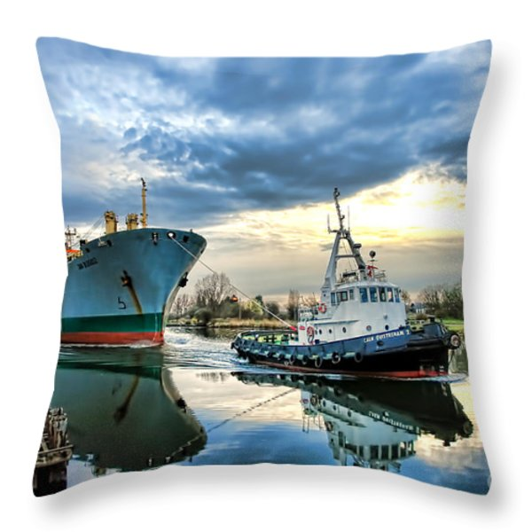 Boats on a Canal Throw Pillow by Olivier Le Queinec