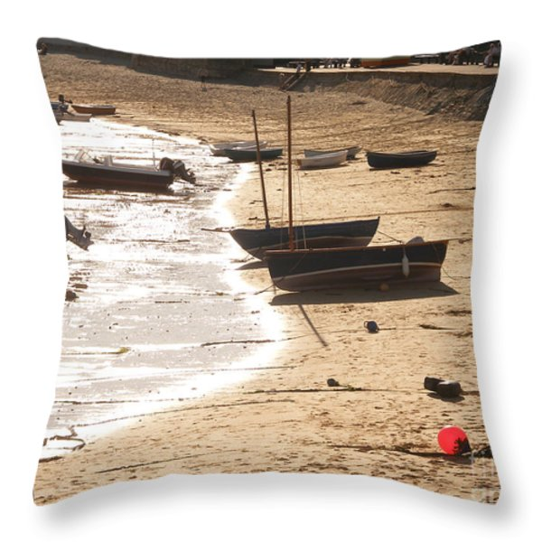 Boats on beach 02 Throw Pillow by Pixel  Chimp