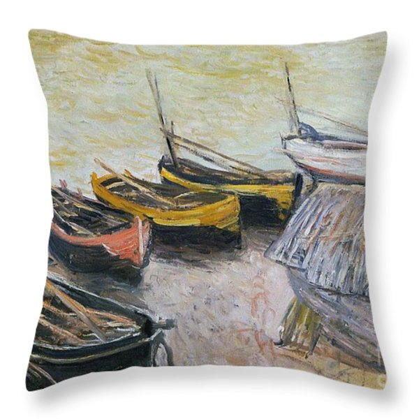 Boats On The Beach Throw Pillow by Claude Monet