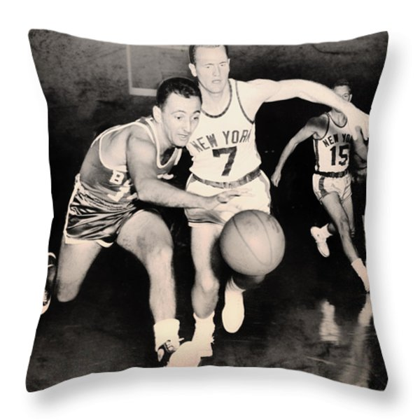 Bob Cousy of the Celtics 1960 Throw Pillow by Mountain Dreams