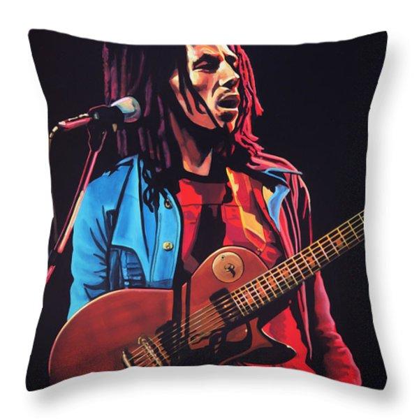 Bob Marley 2 Throw Pillow by Paul  Meijering