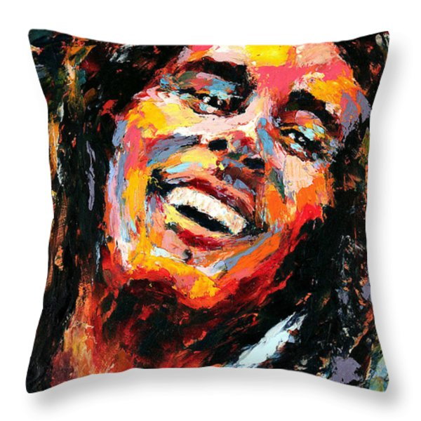 Bob Marley Throw Pillow by Derek Russell