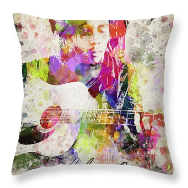 Bob Marley Portrait Throw Pillow by Aged Pixel