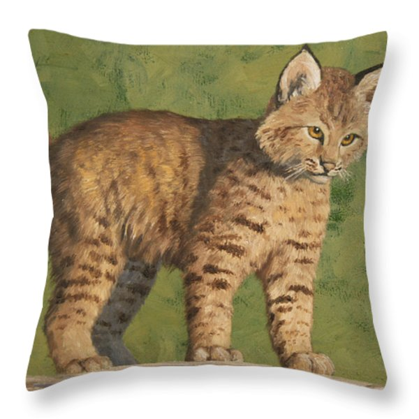 Bobcat Kitten Throw Pillow by Crista Forest