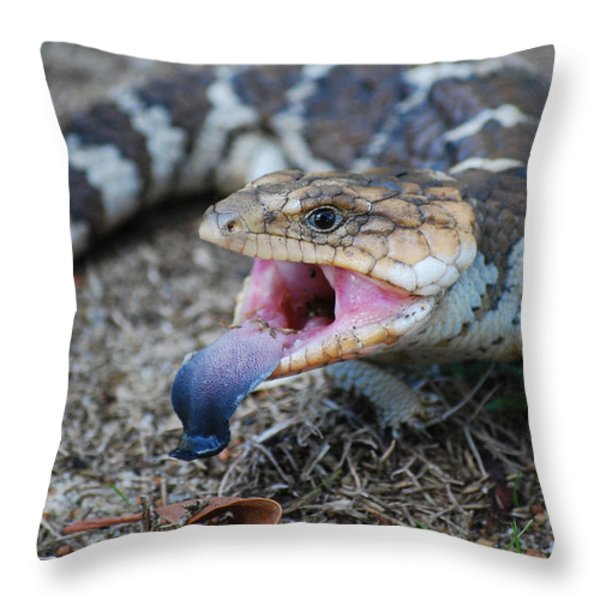 Bobtail Lizard Throw Pillow by Michelle Wrighton