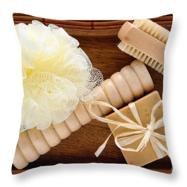 Body Care Accessories In Wood Tray Throw Pillow by Olivier Le Queinec