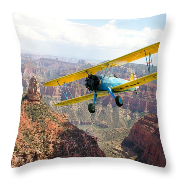 Boeing Stearman At Mount Hayden Grand Canyon Throw Pillow by Gary Eason