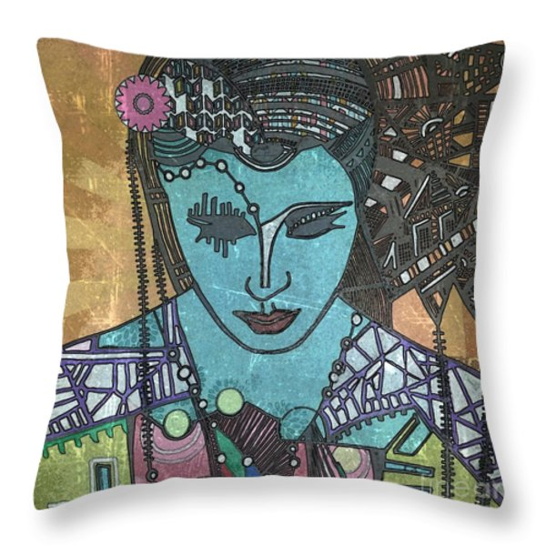 Bohee Woman Throw Pillow by Amy Sorrell