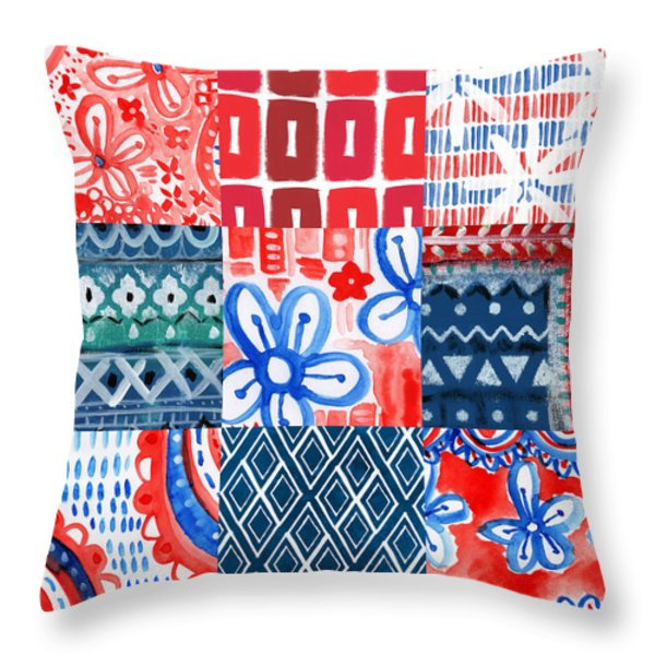 Boho Americana- Patchwork Painting Throw Pillow by Linda Woods